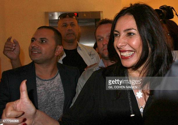 Israeli Minister of Sports and Culture Miri Regev gestures upon arriving to a theatre awards ceremony in Tel Aviv on June 19 2015 Regev has become...