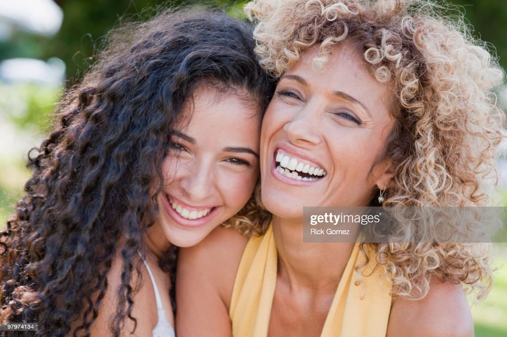 Israeli mother and daughter laughing