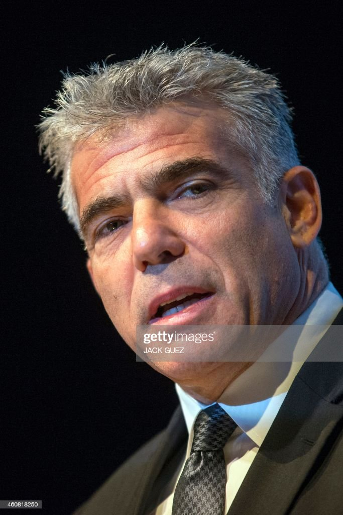 Israeli MP and chairperson of centre-right Yesh Atid party, <a gi-track='captionPersonalityLinkClicked' href=/galleries/search?phrase=Yair+Lapid&family=editorial&specificpeople=5366792 ng-click='$event.stopPropagation()'>Yair Lapid</a> delivers a speech during an Economic Conference on December 24, 2014 in the Israeli Mediterranean Coastal city of Tel Aviv.