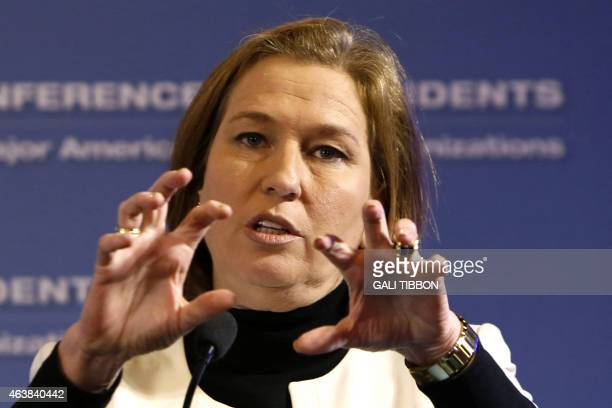 Israeli MP and coleader of the Zionist Union party Tzipi Livni gestures as she delivers a speech at the Conference of Presidents of major American...