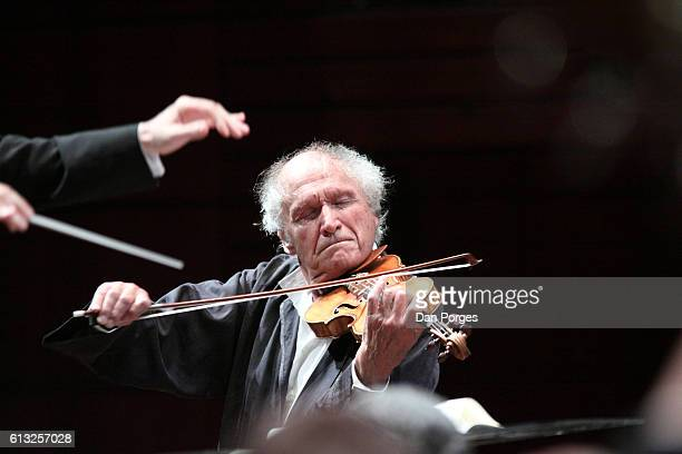 Israeli musician Ivry Gitlis plays violin with the Israel Symphony Orchestra Rishon LeZion during a performance at the Rishon LeZion Meir Nitzan...