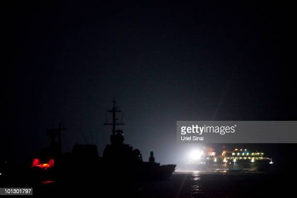 Israeli Navy intercepts peace boats bound for Gaza on May 31 2010 in the Mediterranean sea 70 miles from the cost of Gaza More than 10 people were...