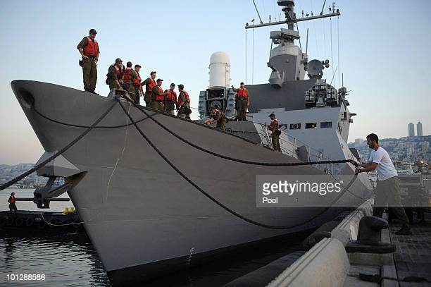 Israeli Navy sailors embark on a warship in order to stop a flotilla of activists attempting to deliver aid to Gaza in spite of Israel's blockade May...
