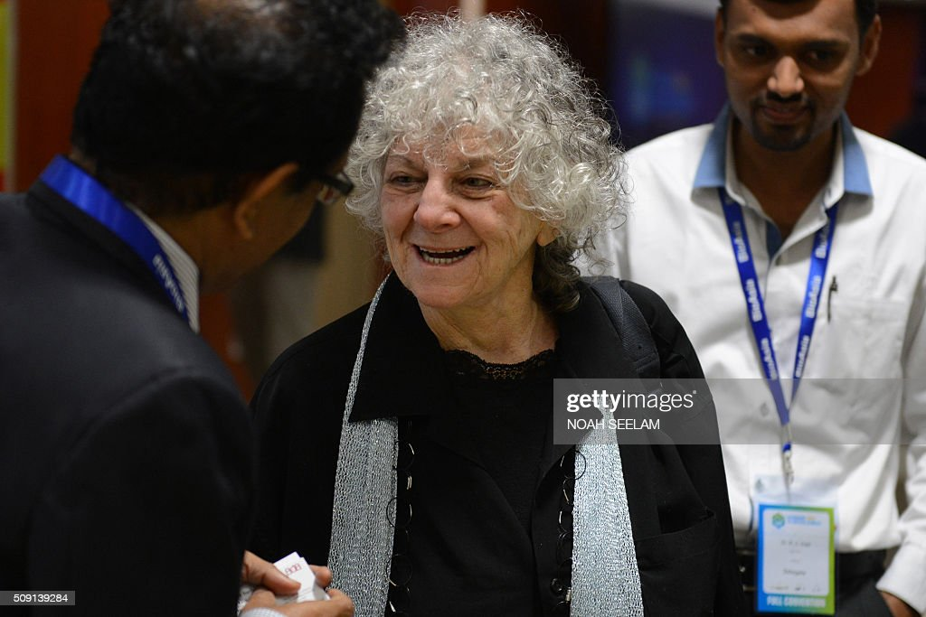 Israeli Nobel laureate Ada E. Yonath (C) talks to delegates during the BioAsia 2016 conference at the Hyderabad International Convention Centre (HICC) in Hyderabad on February 9, 2016. The 13th edition of BioAsia witnessed many strategic partnerships and investment announcements of over 100 million USD in the three-day event. AFP PHOTO / Noah SEELAM / AFP / NOAH SEELAM