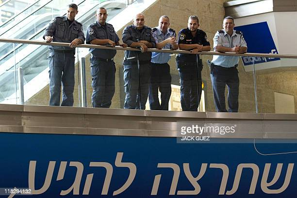 Israeli police and border guard officers deploy at Ben Gurion Airport on July 6 2011 as part of preparations for the arrival of a 'ProPalestinian...