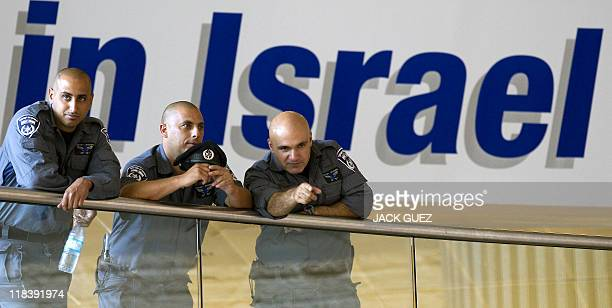 Israeli police and border guard officers deploy at Ben Gurion airport on July 7 2011 as part of preparations for the arrival of a 'ProPalestinian...