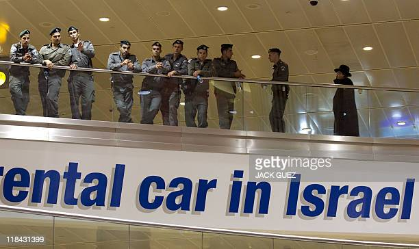 Israeli police and border guard officers stand guard at Ben Gurion Airport near Lod on July 7 2011 as part of preparations for the arrival of a...