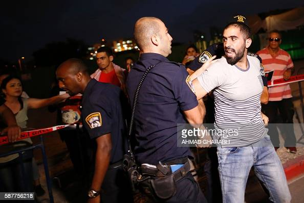 Israeli police arrest a Palestinian protestor during a demonstration against administrative detention and in support of Palestinian prisoner Bilal...