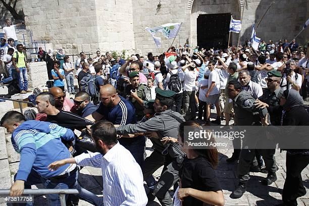 Israeli police interfere to Palestinians as a group of Jewish settlers forced their way into AlAqsa Mosque compound in occupied East Jerusalem as...