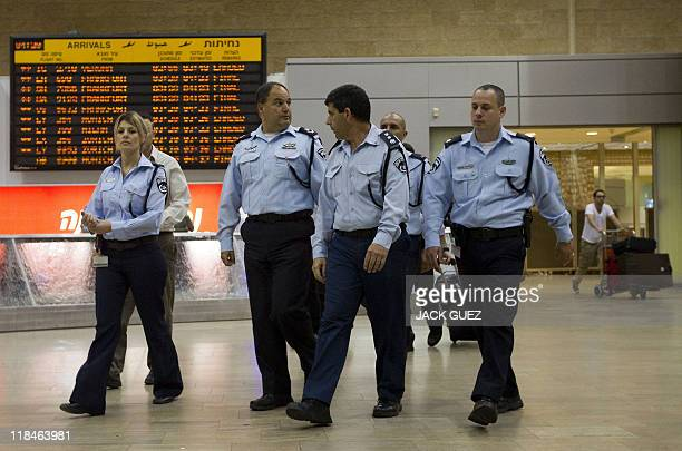 Israeli police officers deploy at Ben Gurion Airport on July 8 2011 as part of preparations for the arrival of the 'ProPalestinian FlyIn' organised...