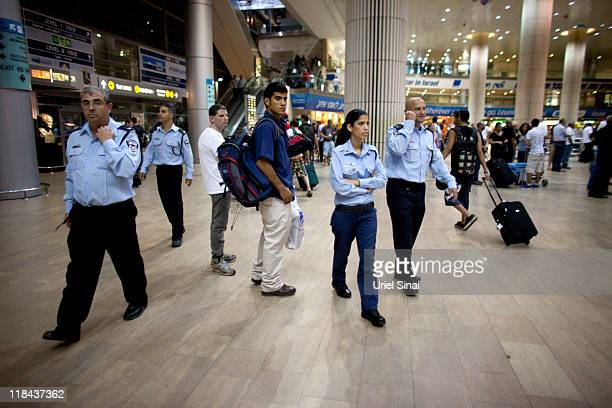 Israeli police officers deploy at the Ben Gurion Airport on July 7 2011 in Tel Aviv Israel Hundreds of European and North American proPalestinian...