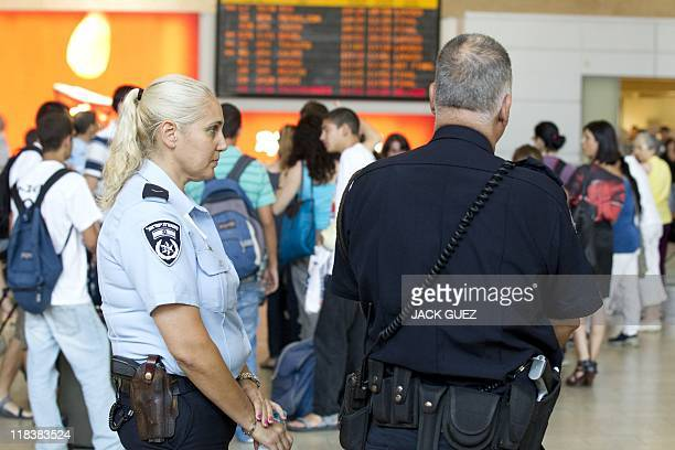Israeli police officers stand guard at Ben Gurion Airport on July 7 2011 as part of preparations for the arrival of a 'ProPalestinian FlyIn'...
