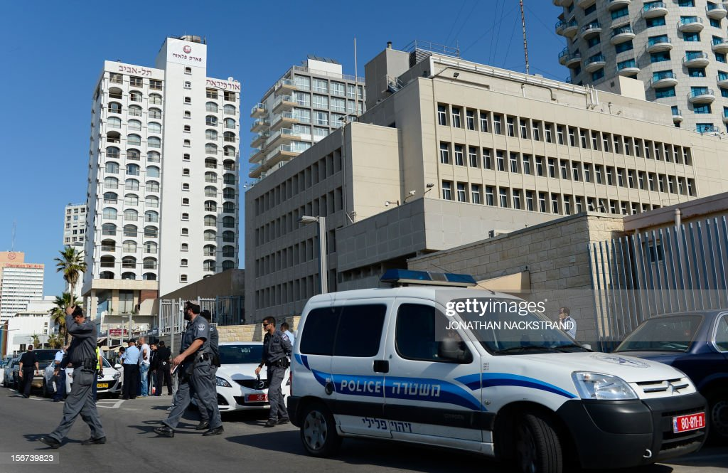 Israeli police secure the US embassy in Tel Aviv after one of the guards at the embassy was attacked and wounded with a knife and an ax by an unknown assailant on November 20, 2012. Security guards at the US embassy fired shots at a man who attacked them an Israeli police spokeswoman said, indicating the attacker had been apprehended.