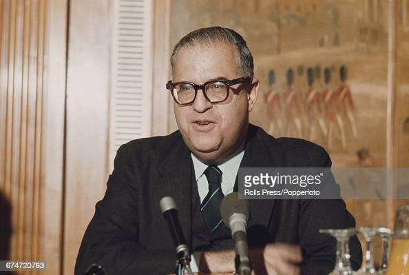 Israeli politician and Minister of Foreign Affairs Abba Eban takes part in a press conference at the Dorchester Hotel in London on 19th December 1969
