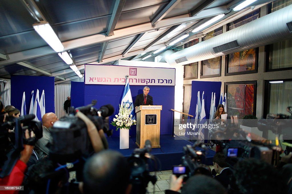 Israeli politician Yair Lapid leader of the Yesh Atid party holds a press conference following a meeting with President Shimon Peres at the presidential compound on January 30, 2013 in Jerusalem, Israel. President Shimon Peres today formally began a period of consultation with the various parties to select the MP most able to put together the country's next ruling coalition, with incumbent Prime Minister Benjamin Netanyahu the favourite to assemble the coalition. Yair Lapid's Yesh Atid (There is a Future) party came a surprise second in last weeks election with 19 seats and becoming the Knesset's second-largest party.