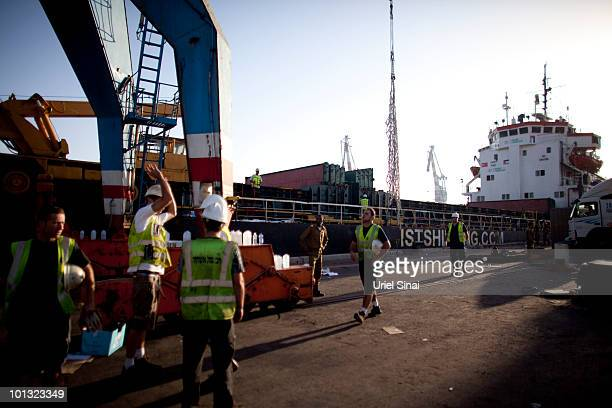 Israeli port workers prepare humanitarian aid seized from a peace flotilla to be sent to Gaza at the Ashdod Port on June 1 2010 in Ashdod Israel 10...
