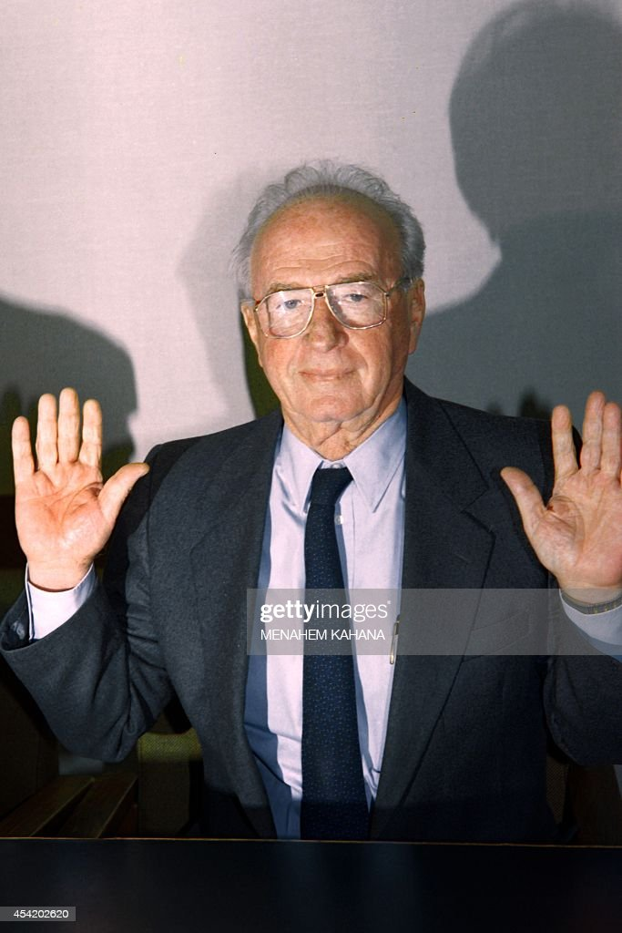 Israeli Premier Yitzhak Rabin gestures during the Labor Party meeting at the Knesset in Jerusalem on January 24, 1995. Rabin has sketched an outline for the new border between Israel and the Palestinians, angering rightwingers who accused him of paving the way to an independent Palestine.