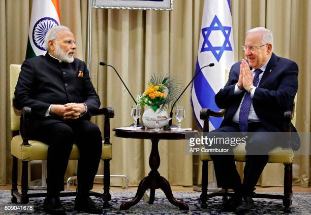 Israeli President Reuven Rivlin meets with Indian Prime Minister Narendra Modi at the president's official residence in Jerusalem on July 5 2017 Modi...