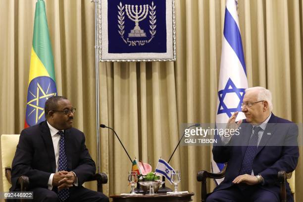 Israeli President Reuven Rivlin meets with Prime Minister of Ethiopia Hailemariam Desalegn at the presidential compound in Jerusalem on June 5 2017 /...