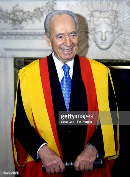 Israeli President Shimon Peres at Mansion House in London after he received an honorary doctorate from Kings College London