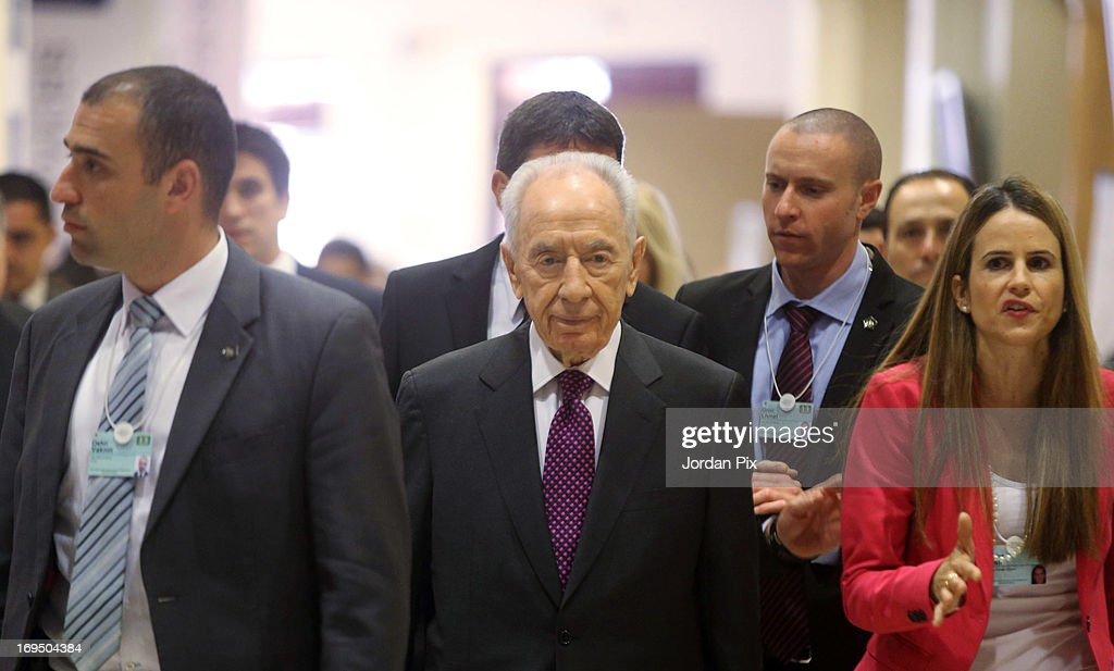 Israeli President Shimon Peres attends the World Economic Forum on the Middle East and North Africa 2013 on May 26, 2013, in Dead Sea, Jordan. The forum runs May 24-26 and is being participated by 23 countries, under the theme of 'Advancing Conditions for Growth and Resilience.'