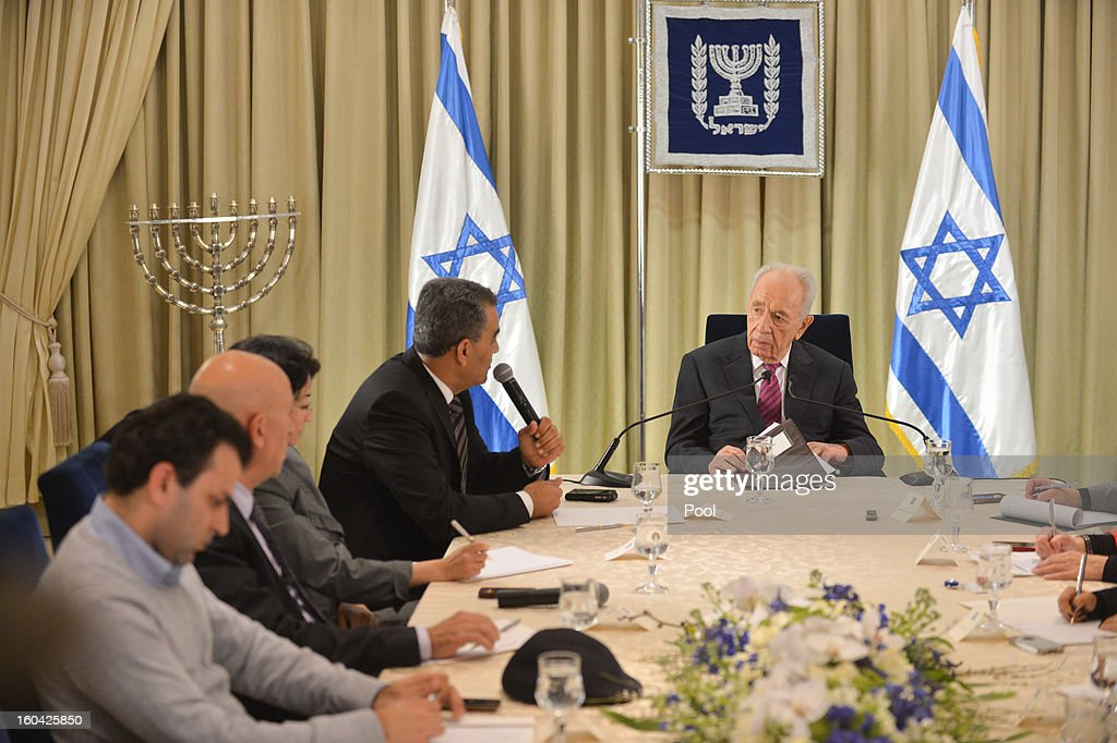 Israeli President Shimon Peres meets with representatives of Balad (National Democratic Assembly) to discuss forming a new Israeli government on January 31, 2013 in Jerusalem, Israel. Israel has begun its post-election process of forming a new government with President Shimon Peres hosting the heads of the major political parties for consultations before deciding on whom to choose as prime minister-designate to form a new coalition.