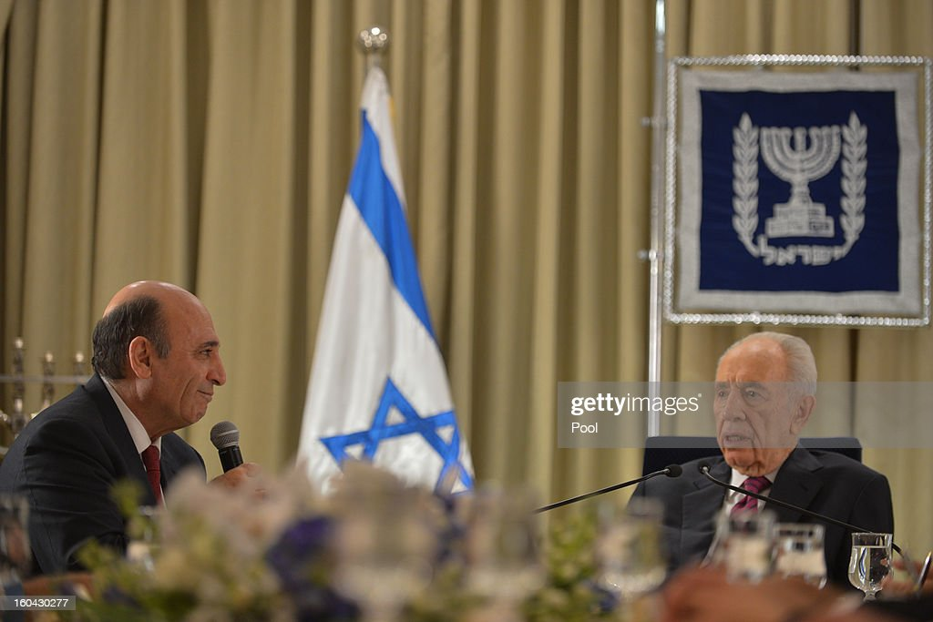 Israeli President <a gi-track='captionPersonalityLinkClicked' href=/galleries/search?phrase=Shimon+Peres&family=editorial&specificpeople=201775 ng-click='$event.stopPropagation()'>Shimon Peres</a> <a gi-track='captionPersonalityLinkClicked' href=/galleries/search?phrase=Shimon+Peres&family=editorial&specificpeople=201775 ng-click='$event.stopPropagation()'>Shimon Peres</a> (R) meets with representatives of Kadima headed by <a gi-track='captionPersonalityLinkClicked' href=/galleries/search?phrase=Shaul+Mofaz&family=editorial&specificpeople=208756 ng-click='$event.stopPropagation()'>Shaul Mofaz</a> (L) to discuss forming a new Israeli government on January 31, 2013 in Jerusalem, Israel. Israel has begun its post-election process of forming a new government with President <a gi-track='captionPersonalityLinkClicked' href=/galleries/search?phrase=Shimon+Peres&family=editorial&specificpeople=201775 ng-click='$event.stopPropagation()'>Shimon Peres</a> hosting the heads of the major political parties for consultations before deciding on whom to choose as prime minister-designate to form a new coalition.