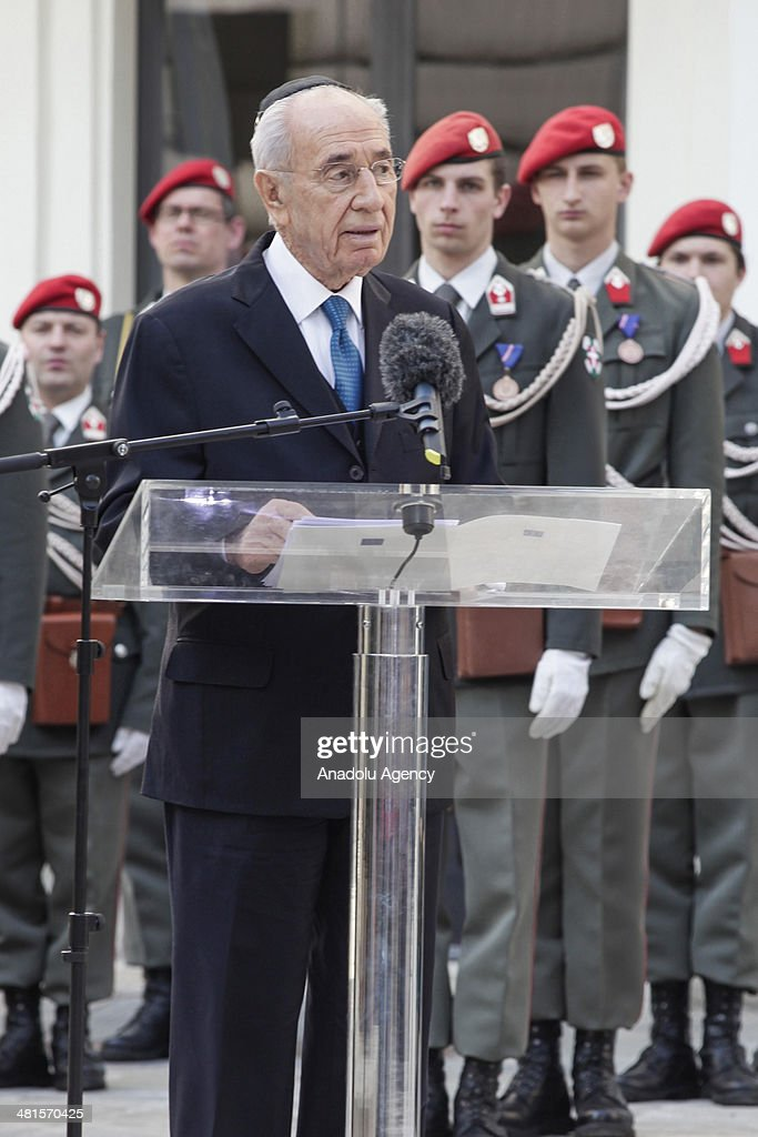 Israeli President <a gi-track='captionPersonalityLinkClicked' href=/galleries/search?phrase=Shimon+Peres&family=editorial&specificpeople=201775 ng-click='$event.stopPropagation()'>Shimon Peres</a> speaks after attending wreath-laying ceremony with President of Austria Heinz Fischer (not pictured) at the memorial for Austrian victims of the Holocaust in Vienna, Austria, on March 30, 2014.