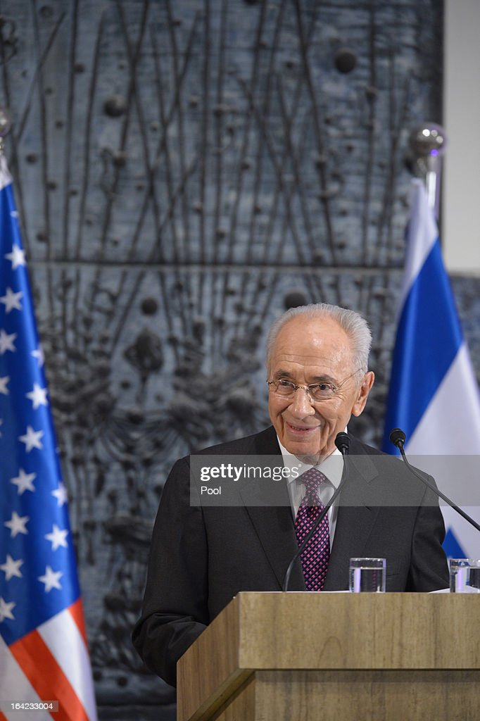 Israeli President <a gi-track='captionPersonalityLinkClicked' href=/galleries/search?phrase=Shimon+Peres&family=editorial&specificpeople=201775 ng-click='$event.stopPropagation()'>Shimon Peres</a> speaks at a state dinner held for the visiting U.S. President Barack Obama at Peres' official residence March 21, 2013 in Jerusalem, Israel. This is Obama's first visit as president to the region and his itinerary includes meetings with the Palestinian and Israeli leaders as well as a visit to the Church of the Nativity in Bethlehem.