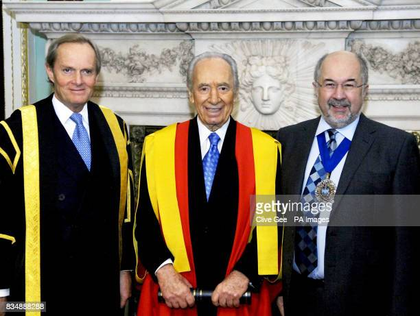Israeli President Shimon Peres the Chairman of Kings' College Arthur Wellesley Marquess of Douro OBE and Lord Mayor of London Alderman Ian Luder at...