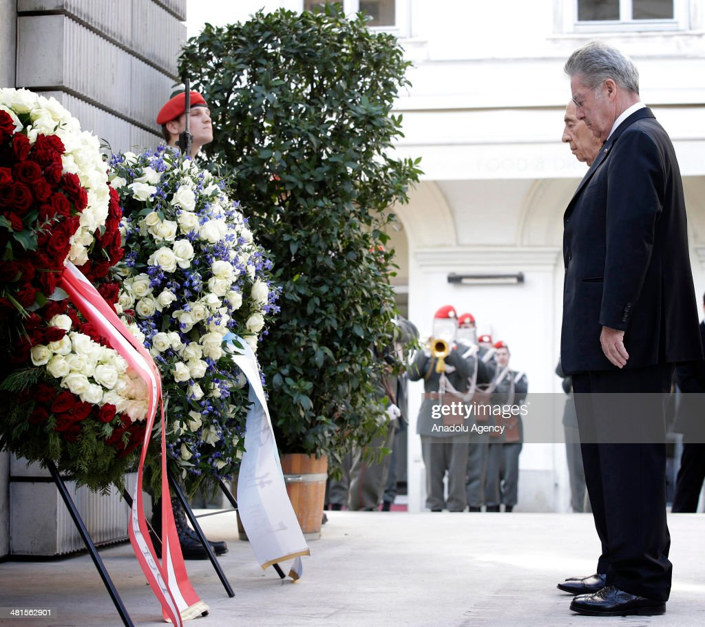 Israeli President <a gi-track='captionPersonalityLinkClicked' href=/galleries/search?phrase=Shimon+Peres&family=editorial&specificpeople=201775 ng-click='$event.stopPropagation()'>Shimon Peres</a> (rear) visits the memorial for Austrian victims of the Holocaust with President of Austria Heinz Fischer (front) in Vienna, Austria, on March 30, 2014.