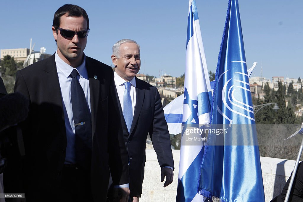Israeli Prime Minister and Chairman of the Likud <a gi-track='captionPersonalityLinkClicked' href=/galleries/search?phrase=Benjamin+Netanyahu&family=editorial&specificpeople=118594 ng-click='$event.stopPropagation()'>Benjamin Netanyahu</a> arrives for a visit to the Begin Heritage center on January 21, 2013 in Jerusalem, Israel. The Israeli general election will be held on January 22.