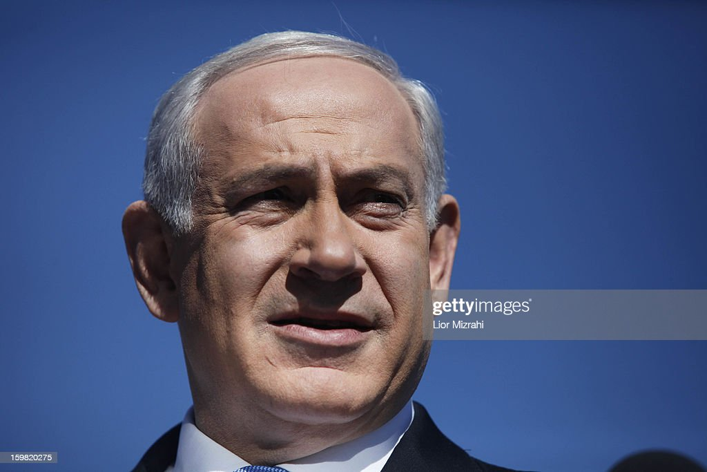 Israeli Prime Minister and Chairman of the Likud Benjamin Netanyahu speaks to the press during a visit to the Begin Heritage center on January 21, 2013 in Jerusalem, Israel. The Israeli general election will be held on January 22.