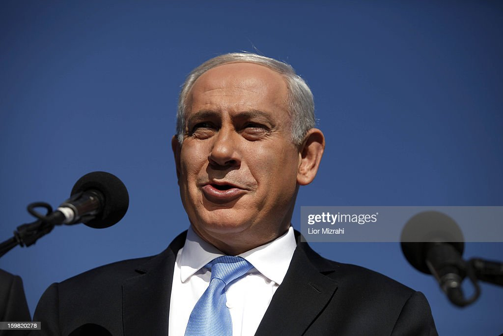 Israeli Prime Minister and Chairman of the Likud <a gi-track='captionPersonalityLinkClicked' href=/galleries/search?phrase=Benjamin+Netanyahu&family=editorial&specificpeople=118594 ng-click='$event.stopPropagation()'>Benjamin Netanyahu</a> speaks to the press during a visit to the Begin Heritage center on January 21, 2013 in Jerusalem, Israel. The Israeli general election will be held on January 22.