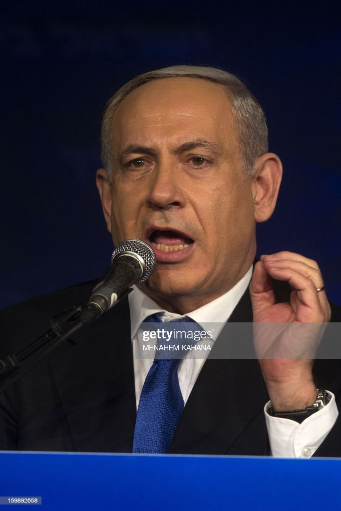 Israeli Prime Minister and chairman of the Likud party Benjamin Netanyahu talks to supporters at the party headquarters in Tel Aviv early on January 23, 2013 after his Likud-Beitenu list won the Israeli general election. Netanyahu said it was necessary to form the 'broadest possible government' after his Likud-Beitenu list won a narrow election victory, with the centrist Yesh Atid in second place.