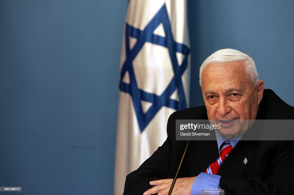 Israeli Prime Minister <a gi-track='captionPersonalityLinkClicked' href=/galleries/search?phrase=Ariel+Sharon&family=editorial&specificpeople=156426 ng-click='$event.stopPropagation()'>Ariel Sharon</a> gives a press conference regarding his political plans in his offices November 21, 2005 in Jerusalem, Israel. Sharon announced his split from the right-wing Likud party to form a new centrist-liberal political party he intends to lead to victory in early general elections.