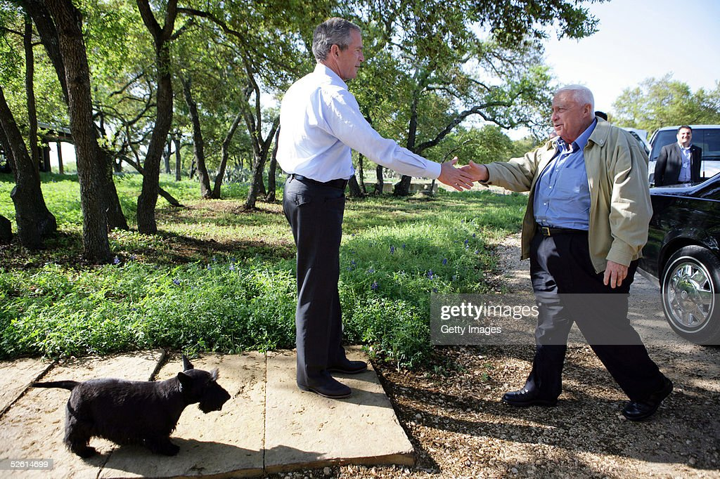Israeli Prime Minister Ariel Sharon is greeted by President George W Bush upon Sharon's arrival to Bush's ranch April 11 2005 in Crawford Texas The...