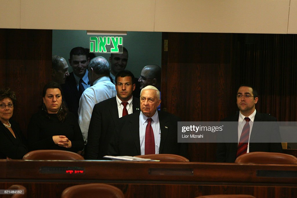 Israeli Prime Minister Ariel Sharon is seen in the Knesset Israeli Parliament on November 11 2005 in Jerusalem Israel