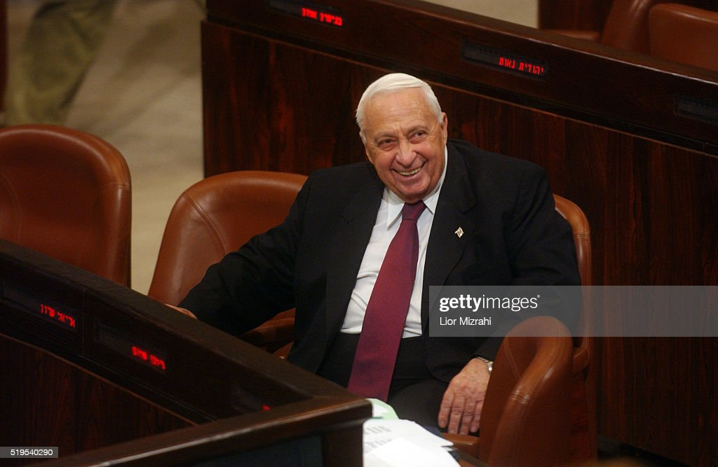 Israeli Prime Minister Ariel Sharon smiles at the Knesset Israeli Parliament on November 29, 2004 in Jerusalem, Israel.