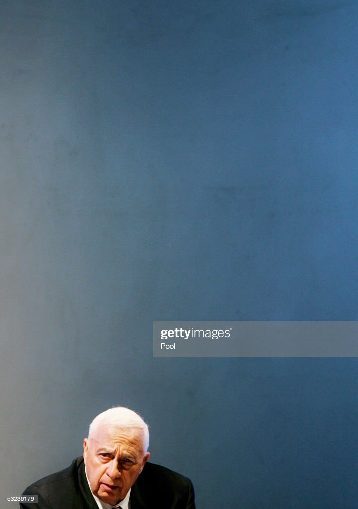 Israeli Prime Minister Ariel Sharon speaks during a meeting with Israeli police commanders on July 14 2005 in the costal city of Ashdod Israel Sharon...