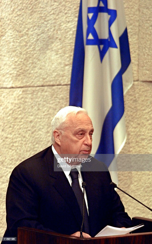 Israeli Prime Minister Ariel Sharon speaks in the Knesset October 11 2001 during a special memorial session for the 78 people killed in the October 4...
