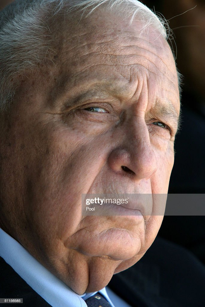 Israeli Prime Minister Ariel Sharon visits August 10 2004 in the southern Israeli Beduin town of Rahat Sharon told the Beduin audience that Jews and...
