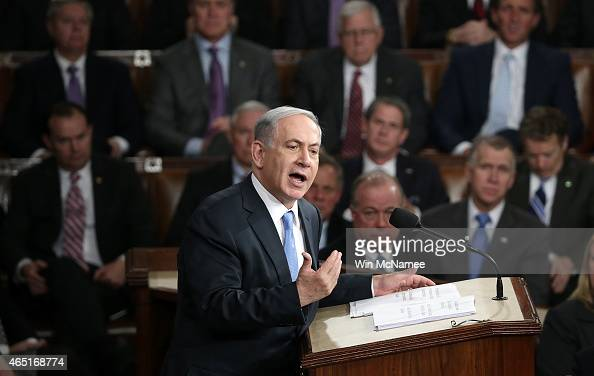 Israeli Prime Minister Benjamin Netanyahu addresses a joint meeting of the United States Congress in the House chamber at the US Capitol March 3 2015...
