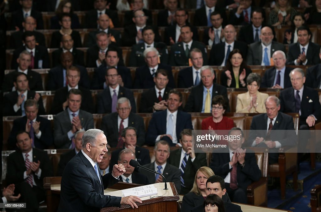 Israeli Prime Minister <a gi-track='captionPersonalityLinkClicked' href=/galleries/search?phrase=Benjamin+Netanyahu&family=editorial&specificpeople=118594 ng-click='$event.stopPropagation()'>Benjamin Netanyahu</a> addresses a joint meeting of the United States Congress in the House chamber at the U.S. Capitol March 3, 2015 in Washington, DC. During his speech, Netanyah said, 'Today the Jewish people face yet another attempt by another Persian potentate to destroy us.'