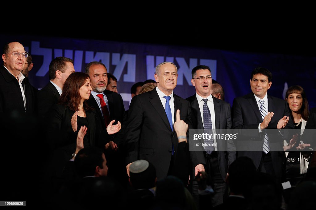 Israeli Prime Minister <a gi-track='captionPersonalityLinkClicked' href=/galleries/search?phrase=Benjamin+Netanyahu&family=editorial&specificpeople=118594 ng-click='$event.stopPropagation()'>Benjamin Netanyahu</a> addresses supporters at his election campaign headquarters on Janurary 23, 2013 in Tel Aviv, Israel. Netanyahu was re-elected for a third term and will return to office, according to exit polls. Israel had the highest turnout of voters since 1999.