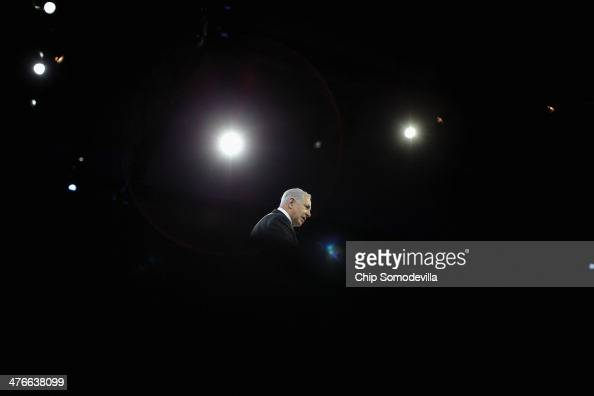 Israeli Prime Minister Benjamin Netanyahu addresses the American Israel Public Affairs Committee's Policy Conference at the Walter Washington...