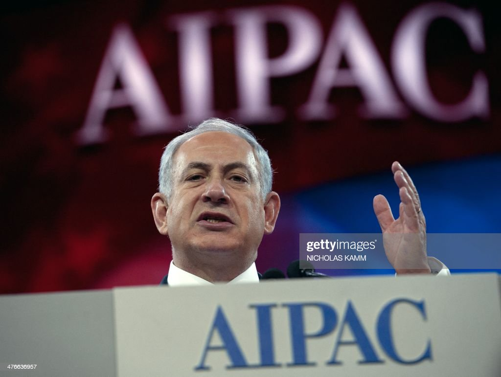 Israeli Prime Minister Benjamin Netanyahu addresses the Israel Public Affairs Committee (AIPAC) policy conference in Washington,DC on March 4, 2014. Israel needs to take tough decisions if peace talks with the Palestinians are to have a future, US President Barack Obama told Prime Minister Benjamin Netanyahu during their Oval Office meeting on March 3. AFP PHOTO/Nicholas KAMM