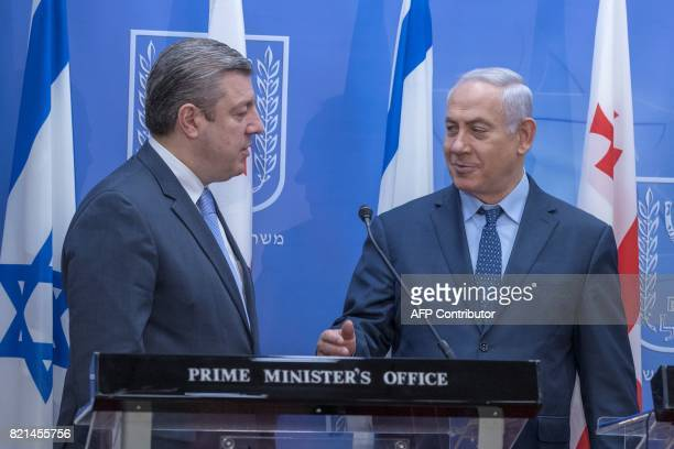 Israeli Prime Minister Benjamin Netanyahu and his Georgian counterpart Giorgi Kvirikashvili hold a press conference at the prime minister's office in...