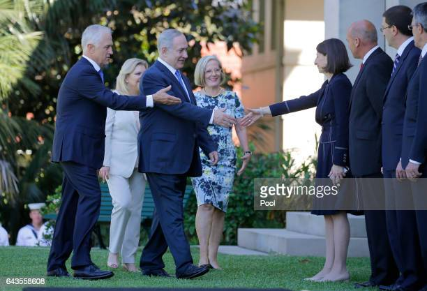 Israeli Prime Minister Benjamin Netanyahu and his wife Sara are introduced to New South Wales Premier Gladys Berejiklian by Australian Prime Minister...