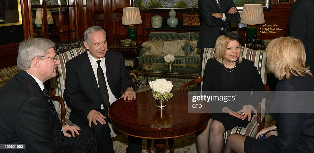Israeli Prime Minister Benjamin Netanyahu (2L) and his wife Sara Netanyahu (2R) meet Canadian Prime Minister Stephen Harper (L) and his wife Laureen (R) on April 17, 2013 on a visit to London, England. The Israeli Prime Minister was one of the 2,000 guests who attended the funeral of former British Prime Minister Baroness Margaret Thatcher in London today.